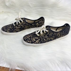 Keds Rifle Paper Co. Lace-Up Sneakers Navy Blue